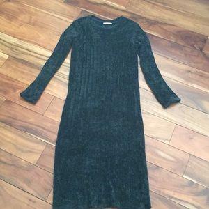 Velvet teal midi dress